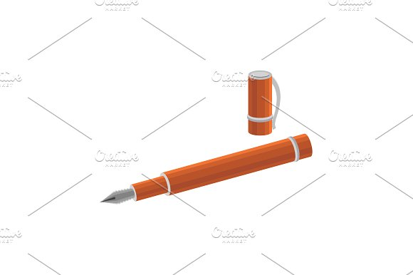 Color Vector Image Pen With Cap