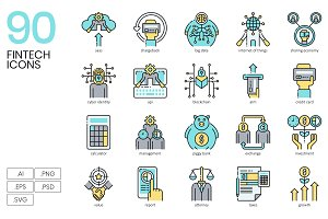 90 Finance Technology Icons