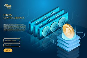 Process of mining the Bitcoin cryptocurrency. Blockchain technology.
