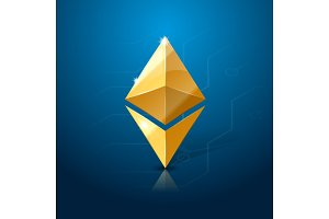 Ethereum cryptocurrency logo. System of electronic or digital money.