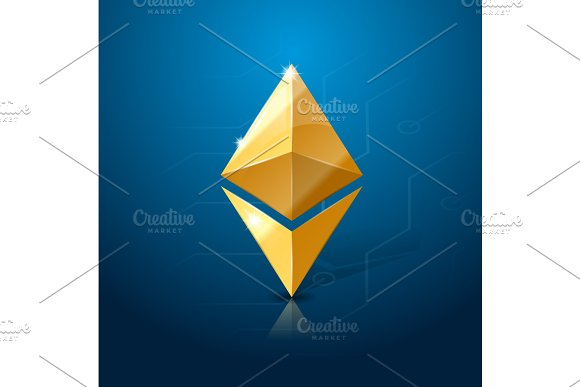 Ethereum Cryptocurrency Logo System Of Electronic Or Digital Money