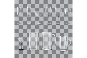 Transparent empty glasses set