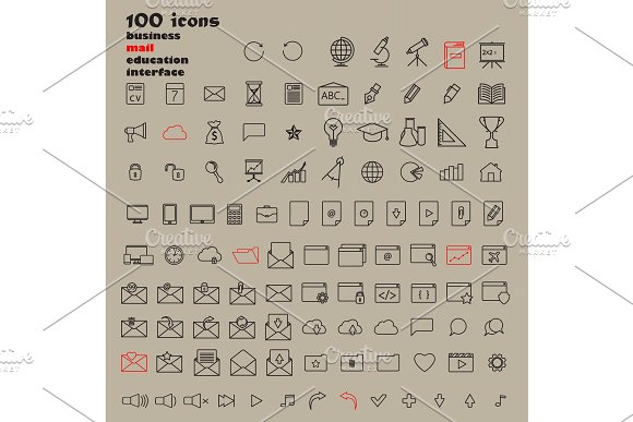 Set Of 100 Minimal Modern Thin Stroke Black Icons