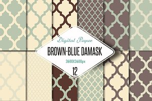 Damask digital paper, brown and blue