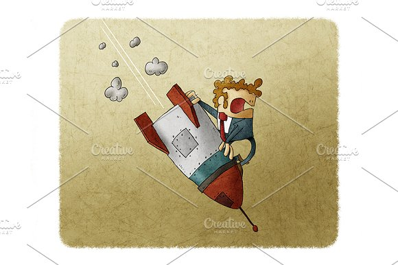 Businessman Falling Down On Top Of A Rocket Business Failure The Rocket Fall Down Concept Of Failed Start Up
