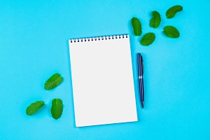 An empty notebook with a blue handle and mint leaves on a blue pastel background. mock-up, frame, template.