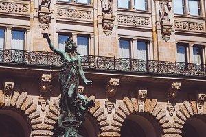 Bronze statue of Hygieia on Brunnen fountain near Hamburger Rathaus - Town Hall