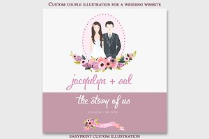 Custom couple wedding illustration