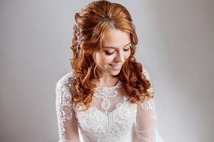 Portrait of red-haired bride