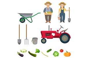 Male and female farmers and equipment for work set