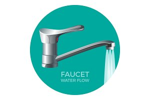 Faucet water flow promo logo with modern tap