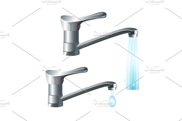 Shiny Metal Taps With Strong Water Flow And Big Drop