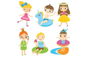 Summer kids clip art vector
