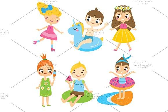 Summer Kids Clip Art Vector