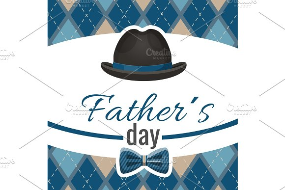 Fathers Day Postcard With Classic Hat And Blue Bowtie