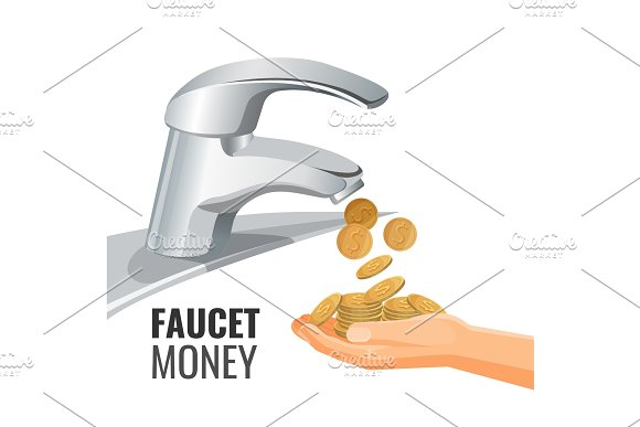 Faucet Money Promo Banner With Golden Coins From Tap