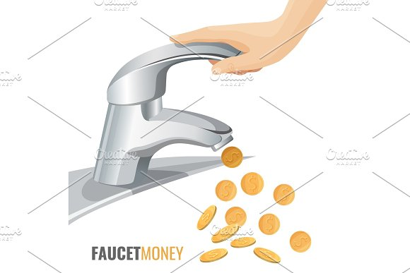 Faucet Money Commercial Banner With Modern Tap And Golden Coins