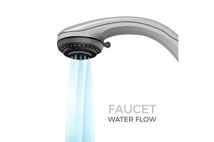 Faucet water flow promo banner with shower nozzle