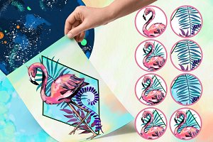 Flamingo. Geometry. Watercolor.