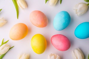 Flowers and colorful eggs on a white background.