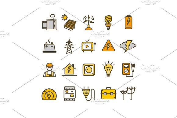 Electricity Thin Line Icon Set