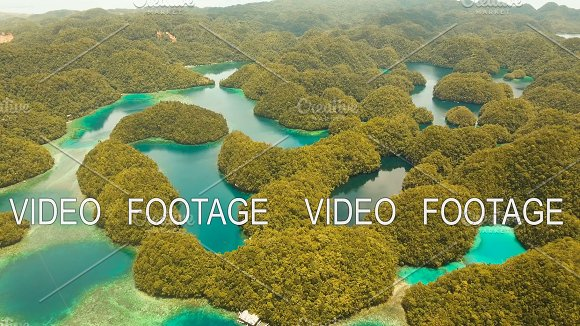 Aerial View Tropical Lagoon Sea Beach.Bucas Grande Island Sohoton Cove Philippines