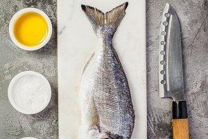 Delicious fresh sea bream fish