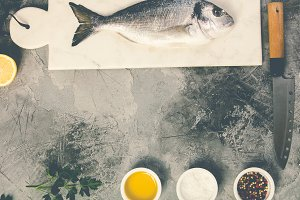 Delicious fresh sea bream fish