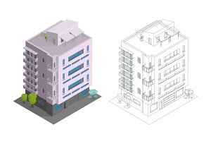 Townhouse building. Terraced housing modern town house multiple floors. City residence three-storey architecture. Contours, drawing isometry 3d. Vector illustration