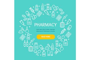 Pharmacy Signs Round Design Template