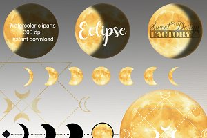 Gold moon clipart