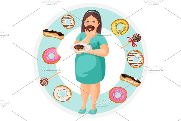 Fat Woman With Plate Of Donuts Surrounded With Desserts