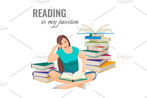 Reading My Passion Poster With Woman Among Book Piles