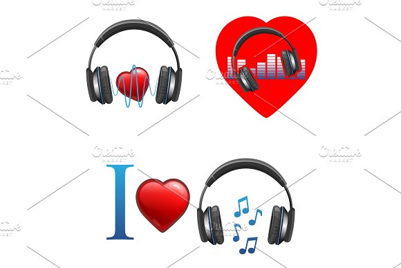 Music Themed Promo Emblems With Headphones And Hearts