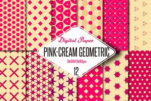 Pink-cream geometric digital paper