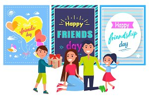 Friends Day Banner with Boy Giving Present Parents