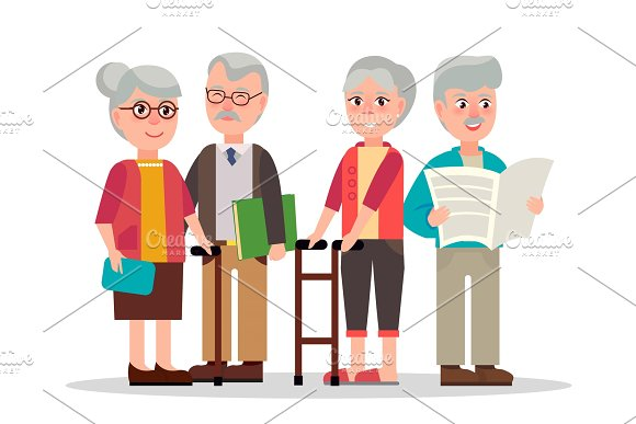Cute Elderly Couples With Books And Newspaper