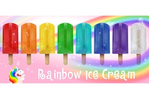 Rainbow fruit ice cream