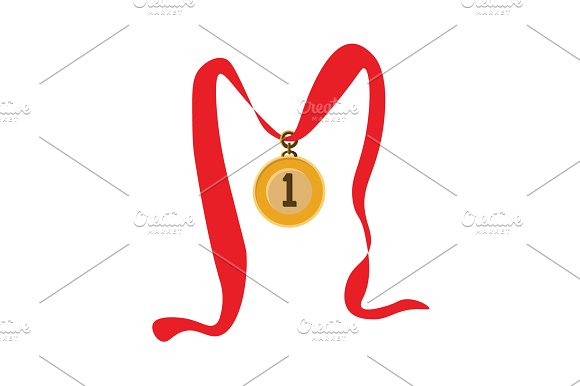 Gold Medal On The Red Ribbon Vector