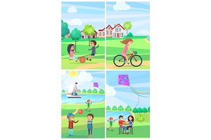 Children Having Fun in Summer Park Poster