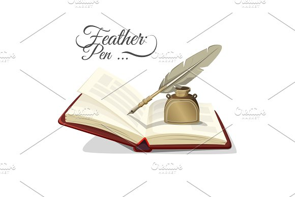 Feather Pen And Inkwell On Open Book Vector Illustration Isolated