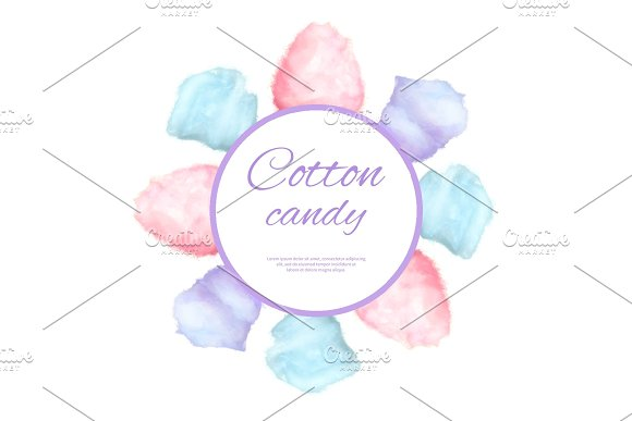Cotton Candy Round Button Surround By Sweet Sugar