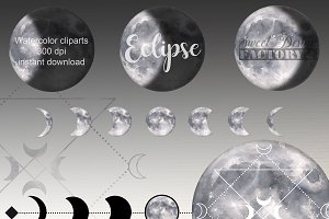 Silver moon clipart