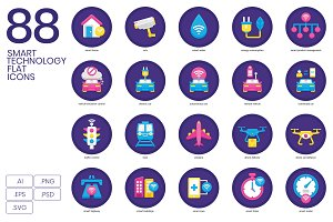88 Smart Technology Flat Icons
