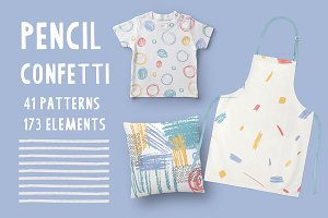 Pensil Confetti Patterns & Elements