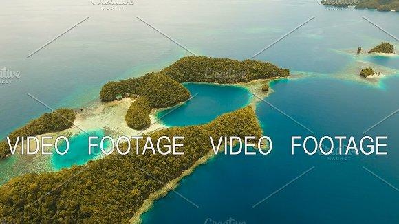 Aerial View Tropical Lagoon Sea Beach.Bucas Grande Island Sohoton Cove Philippines