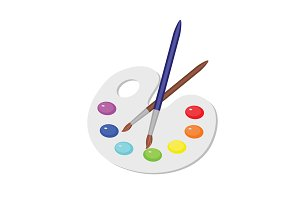 Palette of colors. Paints & brush
