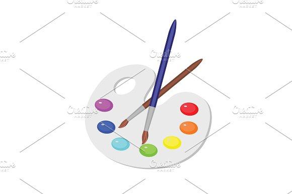 Palette Of Colors Paints Brush