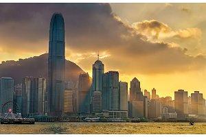 Sunset above Hong Kong downtown