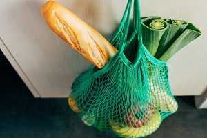Eco shopping bag in the kitchen